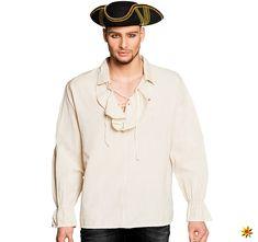 Piratenbluse Herrenhemd Piratenhemd weiß Piraten Pirat Hemd Seeräuber Kostüm