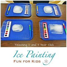 Ice painting for kids involves painting on blocks of ice. A favorite activity any time of the year.