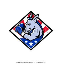 Mascot icon illustration of bust of an American democratic donkey boxing with USA stars and stripes, star spangled banner flag viewed from side set in diamond shape isolated background in retro style. Star Spangled Banner, Retro Illustration, Donkey, Diamond Shapes, Retro Style, Boxing, Retro Fashion, Royalty Free Stock Photos, Flag