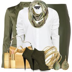A fashion look from November 2013 featuring white blouse, Vero Moda and pencil skirts. Browse and shop related looks. Skirt Outfits, Chic Outfits, Fashion Outfits, Dressy Outfits, Professional Teacher Outfits, Green Leather Skirt, Polyvore Outfits, Polyvore Fashion, Fashion Capsule