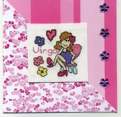Virgo star sign covers from August 23rd until September 22nd and this fun cartoon character is a great way to send greetings to anyone born within that period.  The card features a cross stitch image, flower gem embellishments and lots of bright pink!  Check out more items in the listing from the link below