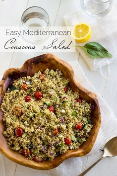 Mediterranean Couscous Salad - A quick, easy and healthy salad that is always a crowd pleaser! | Foodfaithfitness.com | @FoodFaithFit