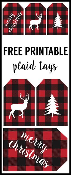 Rustic Christmas Tags Free Printable. Buffalo plaid Christmas tags to print for free. Free printable rustic tags to make your gift wrap look super cute!
