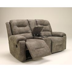 Ashley Rotation Gray Microfiber Power Reclining Loveseat   Weekends Only Furniture Double Recliner Loveseat, Power Reclining Loveseat, Furniture Showroom, Sofa Furniture, Furniture Makeover, Power Recliners, Cool House Designs, Furniture Manufacturers, Living Room Sofa