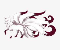 Huli jing Nine-tailed fox Classic of Mountains and Seas East Asia - White nine tail fox Cute Fantasy Creatures, Mythical Creatures Art, Fox Drawing, Furry Drawing, Cute Animal Drawings, Animal Sketches, Fox Fantasy, Fox Tattoo Design, Fuchs Tattoo