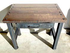 Vintage Industrial Desk. Modern Industrial, Rustic, Retro, Urban, Mid Century Modern Design Furniture.