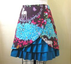 enchanted forest skirt - make this calf length in browns, or denim with bandana, or pinks. <3