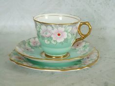 Antique Mint Green Teacup and Saucer Set, Mint Green Floral Tea Cup and Saucer on Etsy, $73.91 CAD