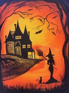 Witch Way to Pinot's @ Pinot's Palette Woodmere (Cleveland Paint and Sip Art Studio) - This Witchy Woman makes you wander what she has been up to. I believe she is searching for a Pinot's Palette to Paint, Drink, and have Fun! Halloween Canvas, Halloween Rocks, Halloween Window, Halloween Painting, Halloween Drawings, Halloween Pictures, Halloween Art, Fall Canvas Painting, Witch Painting