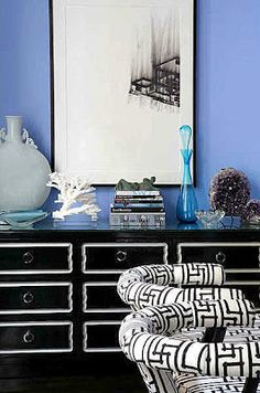 Interior decorating inspirations in Garnet Red. Incredible Home Design cheery formal living room design board DeeDee on the drawers Interior. Mood Board Inspiration, Home Decor Inspiration, Color Inspiration, Blue Rooms, White Rooms, Blue Walls, Black And White Dresser, Black White, White Art
