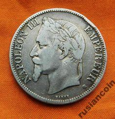 5 Франков 1870 Наполеон III СЕРЕБРО 900 с Рубля