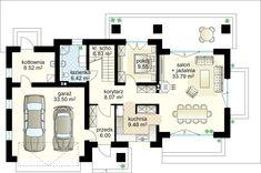 Verona II projekt - Ground floor 88.66 m²  + garaż 33.50 m² Dream House Plans, Verona, Ground Floor, Floor Plans, House Design, Flooring, How To Plan, Log Projects, Arquitetura