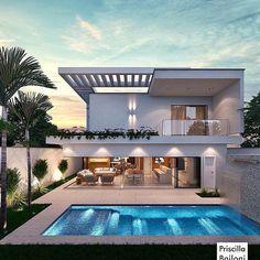 Modern Villa Design, Modern Exterior House Designs, Unique House Design, Modern Architecture House, Dream House Exterior, Modern House Plans, Dream Home Design, Home Building Design, Luxury Homes Dream Houses