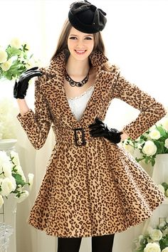 Sexy Leopard Print Fit and Flared Coat