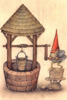 Gnomes never tire of fetching water for their griends; they do occasionally fall off their rocker.