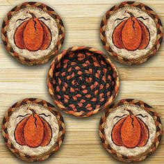 Pumpkin Round Coaster & Basket Holder 5-Pc Set