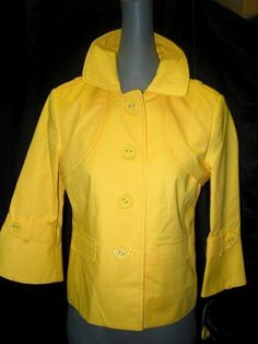 NEW Rafaella Petites $86 Canary Yellow 3/4 Sleeve Stretch Jacket M PM NWT