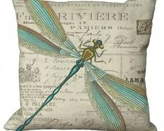 Aqua and Gold Dragonfly Oblong or Square in Choice of Inch Pillow Cover Custom Printed Fabric, Printing On Fabric, Dragonfly Decor, Dragonfly Jewelry, Fabric Envelope, Home Goods Decor, Pillow Forms, How To Dye Fabric, Fabric Samples