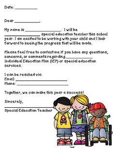 Note to send to students parents. Mrs. H.'s Resource Room