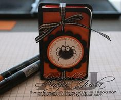 Halloween Tic Tac Holder by akjuda - Cards and Paper Crafts at Splitcoaststampers Fall Paper Crafts, Halloween Paper Crafts, Halloween Cards, Holidays Halloween, Halloween Treats, Halloween Fun, Holiday Crafts, Paper Crafting, Joke Gifts