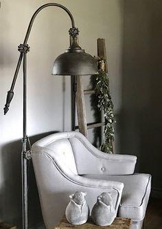 Fauteuil landelijke stijl ladder vloerlamp