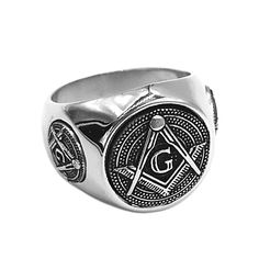 Classic Masonic Stainless Steel Freemasonry Compass Ring Sizes 7 to Fraternal mason statement ring designed with the letter G and compass universal symbol of the masonry movement masterfully handcrafted of pure stainless steel with high polished finish. Knights Templar Ring, Mens Stainless Steel Rings, Masonic Symbols, La Face, Biker Rings, Freemasonry, Wedding Band Sets, Types Of Rings, Size 10 Rings