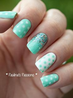 Minty polka dot nails!