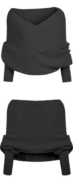 Street Fashion Black Off the Shoulder Crop Knit Sweater from SheIn.com