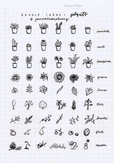 Drawing Doodles Ideas Doodle ideas 1 - plants Remember when I asked you what should I do with the remaining pages of my bujo? Well, the most suggested thing was to do some doodle ideas, which I did, yaay :D. Bullet Journal Inspo, Doodle Bullet Journal, My Journal, Journal Pages, Bullet Journal Markers, Bullet Journal Ideas Handwriting, Bullet Journal Title Page, Journals, Bullet Journal Notebook