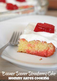 Boomer Sooner Strawberry Cake I Mommy Hates Cooking #TeamJellO #Shop