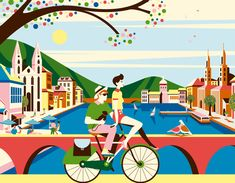 """BUCHERER """" Velo Chic """"    Set of 5 illustrations commissioned by the Swiss Luxury brand BUCHERER for their Spring 2012 window displays.  Backgrounds printed on textile and cut out bicycles."""