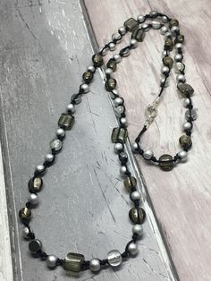 Longer length black, grey and silver necklace £20.00