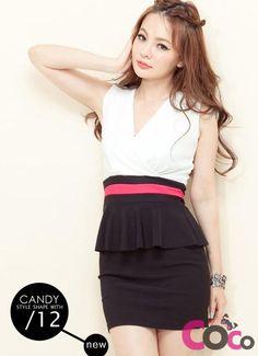 White V-Neck Sleeveless Asian Fashion Dress With Frill At Waist
