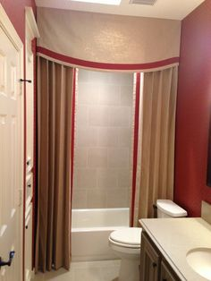 The star of a bathroom doesn't always have to be the tile or the mirrors or the floor or the lighting or the tub. Pretty Shower Curtains, Custom Shower Curtains, Guest Bathrooms, Small Bathroom, Large Ottoman Coffee Table, Dining Room Blue, Furniture Catalog, Custom Window Treatments, Custom Cabinetry