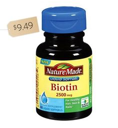 This is a daily vitamin that's meant to help your hair grow faster and stronger. Nature Made Biotin, $9.49