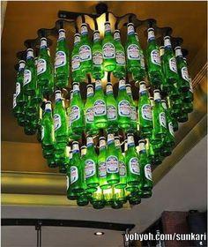beer bottle chandelier now that's crazy