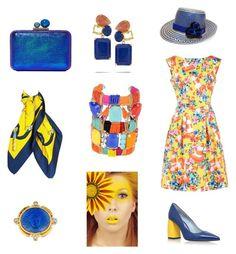 """Blue and yellow"" by gloria-yi-qiao on Polyvore featuring Moschino, Chiara Ferragni, Sophia Webster, YOSUZI, Elizabeth Locke, REMINISCENCE and Bounkit"