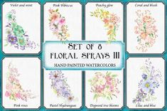 Super collection of watercolor sprays!Perfect for creating wedding and other stationery in minutes.Set of eight hand painted floral sprays, in yellow, pink, purple, pastel and blue. Watercolor Cards, Watercolor Flowers, Watercolour, Blue Hibiscus, Coral Garden, Pink Color Schemes, Wedding Clip, All Paper, Vintage Roses