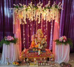Flower Decoration For Ganpati, Eco Friendly Ganpati Decoration, Ganpati Decoration Design, Gauri Decoration, Mandir Decoration, Ganapati Decoration, Background Decoration, Backdrop Decorations, Flower Decorations