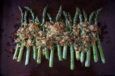 This asparagus gratin takes fresh asparagus and tops it with zesty lemon, herb and sharp Parmesan cheese panko bread crumbs. This side dish is spring time perfection.