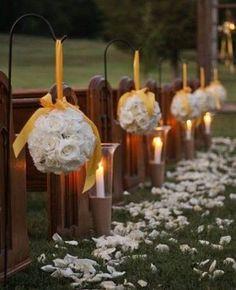 Bola de rosas colgante para decorar boda