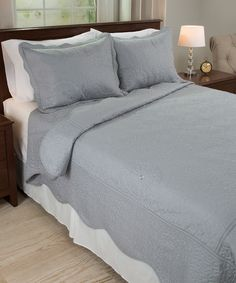 Another great find on #zulily! Platinum Vera Embroidered Quilt Set by Lavish Home #zulilyfinds