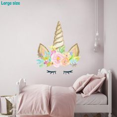 Featuring a unicorn head with eyelashes in a watercolour style, this unicorn wall sticker design will brighten up any girl's bedroom. This unicorn wall sticker design is part of our unicorn collection of wall stickers. Unicorn Themed Room, Unicorn Bedroom Decor, Unicorn Rooms, Bedroom Themes, Girls Bedroom, Unicorn Birthday, Bedroom Ideas, Wall Stickers Unicorn, Girls Wall Stickers