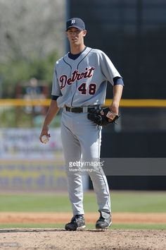 Rick Porcello of the Detroit Tigers pitches during the spring training game…