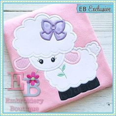 Lamb with Bow Applique This design is to por EmbroideryBoutique2