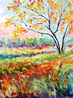 Original oil painting Fall impasto tree Landscape by Karensfineart