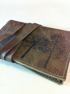 """forest leather passport case cover handprinted custom by inblue, $25.00 I would love to have this with the quote """"not all who wander are lost"""""""