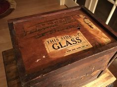 Antique whiskey box with sliding top lid by WoodBrassClass on Etsy