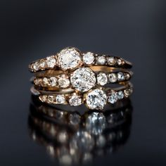 Antique Victorian Late 1800s Triple Row Diamond Gold Ring