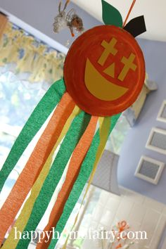 Pumpkin windsock with cute poem: Shine your light for Jesus...perfect for Moonbeams!